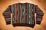 vintage 90s crewneck sweater with crazy multicolor pattern design