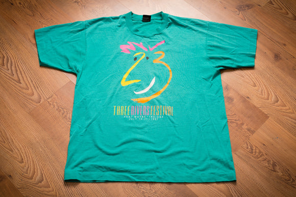 90s 1991 Three Rivers Festival T-Shirt, L, Vintage Tee, Fort Wayne, IN, Concert