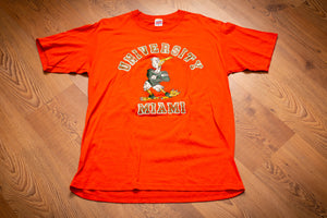 vintage 80s orange t-shirt with university of miami mascot and text
