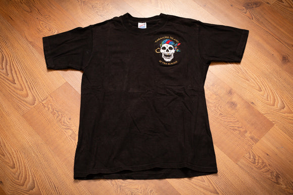 vintage 90s black t-shirt with embroidered treasure island at the mirage pirate skull logo