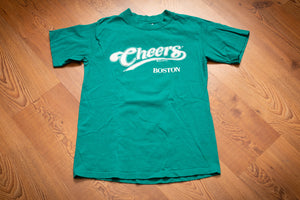 vintage 90s teal t-shirt with cheers boston logo promoting the tv show