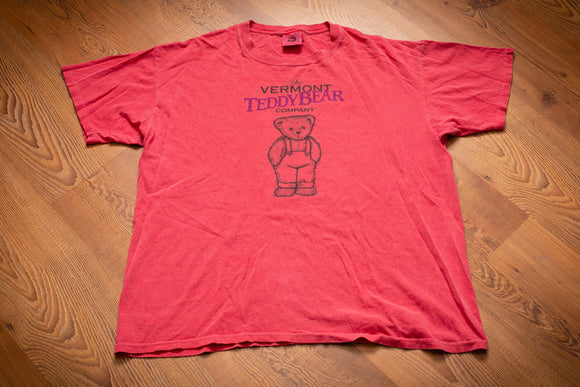 vintage 90s pink t-shirt for the vermont teddy bear company with teddy bear graphic
