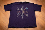90s Van Heusen Fishing T-Shirt, XL, Vintage Graphic Tee, Pole Reels