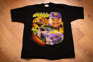 Vintage 90s black t-shirt with colorful graphics of Jimmy Spencer, his race car and a camel