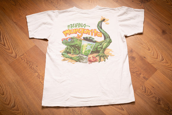 vintage 90s white t-shirt from caribbean soul with iguana holding margarita graphic