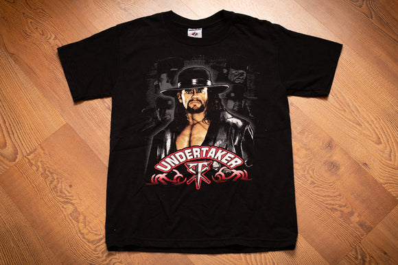 Black t-shirt with color photo graphic of The Undertaker WWF wrestler