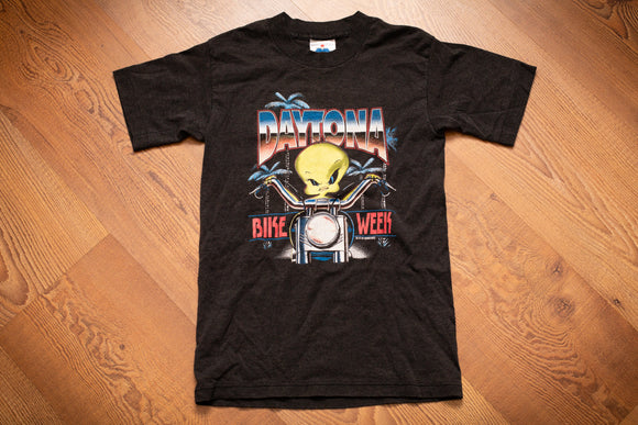 Vintage 90s kids' black t0shirt with Tweety Bird on a motorcycle from 1997 Daytona Bike Week