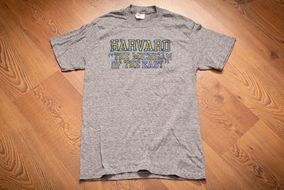 70s-80s Harvard Michigan of the East T-Shirt, XS/S, Vintage Humor Tee, Wolverines