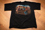 Vintage 90s black t-shirt with graphic of the shootout at OK Corral in Tombstone, Arizona