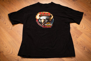 vintage 90s black t-shirt with harley davidson logo and flaming eagle head graphics