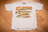 90s Get Hooked Fishing T-Shirt, L, Vintage Fish Graphic Tee, Outdoors