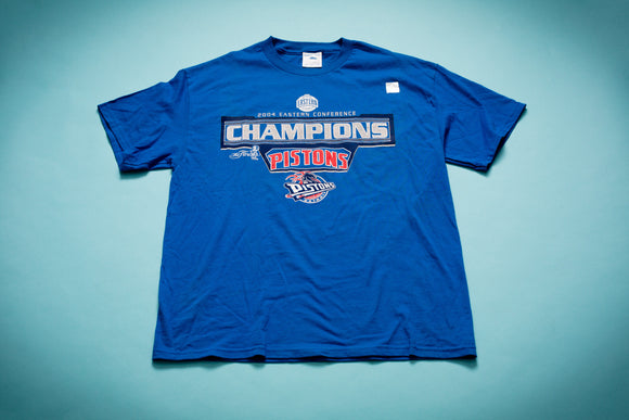 2004 Detroit Pistons Champions T-Shirt, M/L, NBA Graphic Tee, Eastern Conference