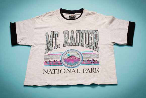 90s Mt Rainier National Park Cutoff T-Shirt, M, Vintage Belly Tee, Midriff