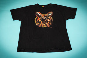 Black t-shirt with red and brown illustration of large, muscular ox-like beast named Cairne Bloodhoof