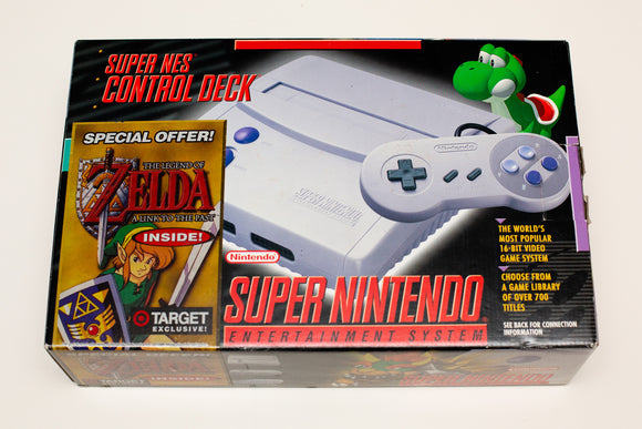 90s Super Nintendo Control Deck with Zelda in Box, Vintage, Complete, SNES Mini Jr