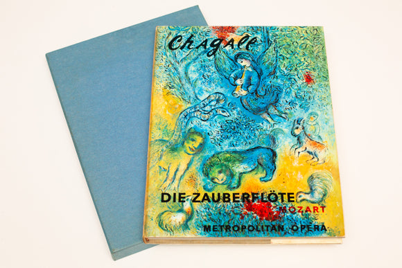 1971 Chagall at the Met hardcover book with dust jacket and slipcase. The cover shows a beautiful Chagall painting of an angel and various animals in mostly blues and yellows.