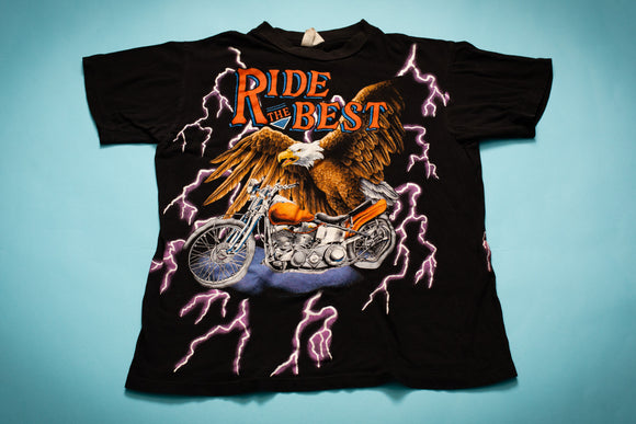 80s-90s American Thunder Ride the Best T-Shirt, M, Vintage Biker Tee, Lightning Eagle Motorcycle