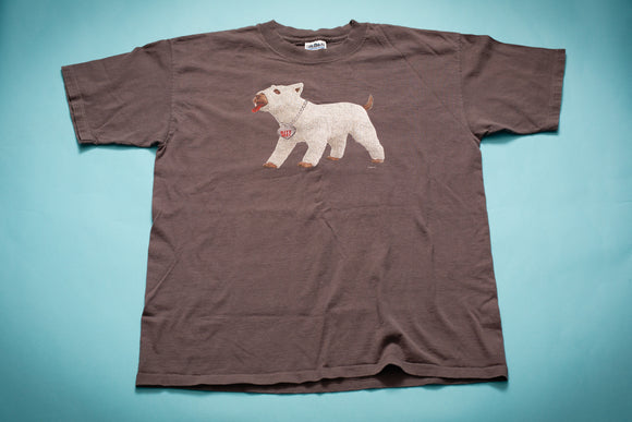 vintage 90s gray t-shirt with dog in cast graphic from the movie there's something about mary