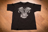 vintage 90s black t-shirt with motorcycle engine block graphic