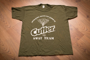 vintage 90s green t-shirt with cutter logo and operation mosquito storm '92 swat team text