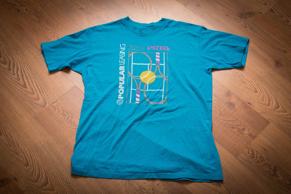 vintage 80s to 90s teal t-shirt with prta tennis senior circuit graphics