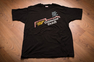 vintage 90s black t-shirt with miller genuine draft beer guitar logo