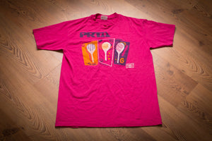 vintage 80s to 90s pink t-shirt with prta and diet pepsi logos and tennis graphics