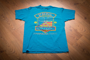vintage 80s-90s teal t-shirt with prta tennis masters graphics
