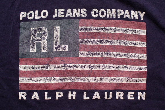 90s Ralph Lauren Polo Jeans Company T-Shirt, American Flag, L, Vintage 1990s, USA Made, Short Sleeve Graphic Tee