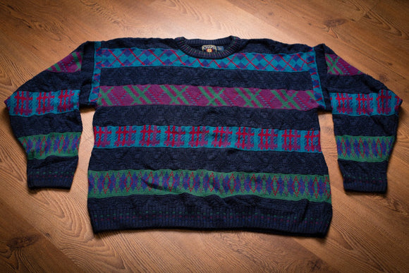 Vintage 90s blue Chaps Ralph Lauren sweater with various blue, green and magenta argyle designs
