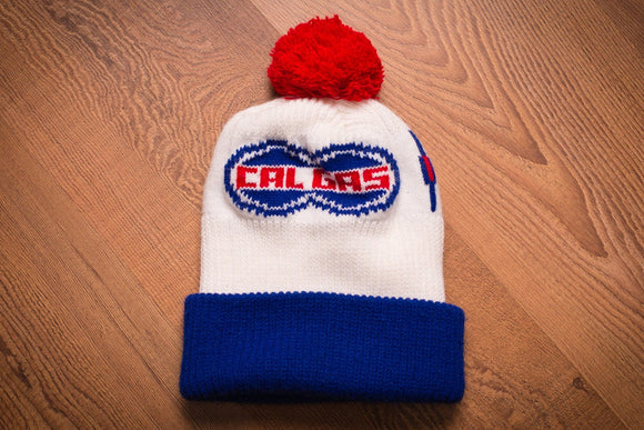 vintage 70s to 80s red white and blue knit beanie hat with cal gas logo