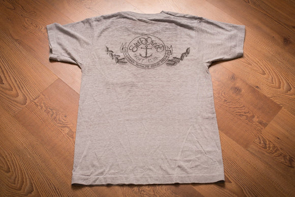 vintage 80s gray t-shirt with shit creek yacht club text and anchor graphic
