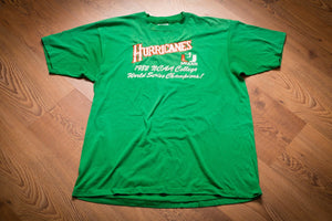 80s Miami Hurricanes T-Shirt, M/L, Vintage Tee, 1982 NCAA College World Series Champs