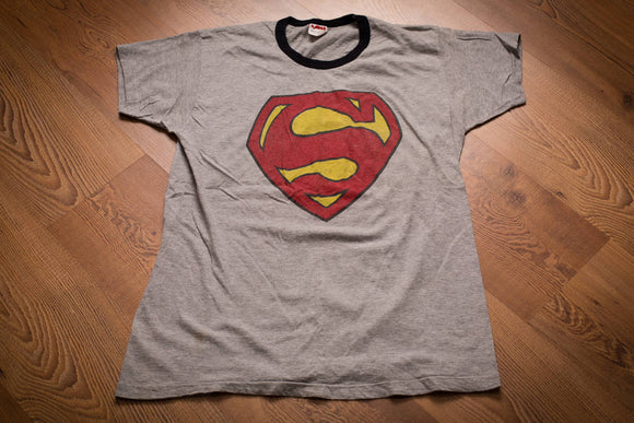 vintage 70s gray t-shirt with superman logo
