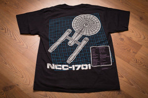 vintage 90s black t-shirt with graphic of star trek uss enterprise ship