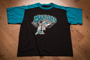 90s Florida Marlins T-Shirt, XL, Vintage Tee, Miami, 1993 Inaugural Season