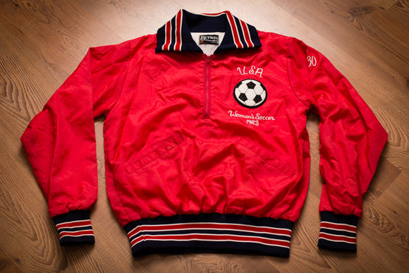 80s USA Women's Soccer 1983 Ringer Jacket, Vintage Butwin Outerwear, Futbol