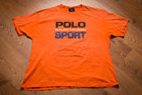 90s Ralph Lauren Polo Sport T-Shirt, XL, Vintage Tee, Creamsicle Orange, USA