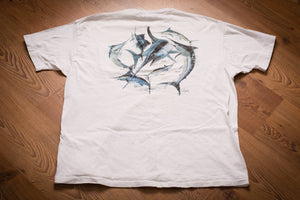 vintage 90s white t-shirt with graphics of several marlin fish