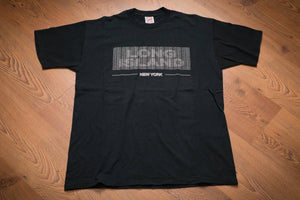 vintage 90s black t-shirt with new york text and long island illusion text