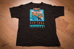 vintage 90s black t-shirt with graphics of people dancing in the night and text of hot times in the city lowenbrau new york