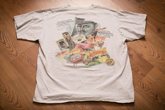 vintage 90s gray t-shirt for caribbean soul with sleuth cafe noir detective movie poster style graphics