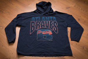 vintage 90s blue long sleeve hooded t-shirt with atlanta braves text and tomahawk logo