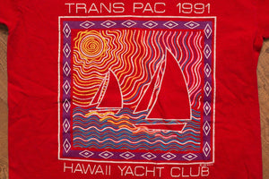 90s 1991 Trans Pac Race T-Shirt, Hawaii Yacht Club, Vintage 1990s, Transpac, Trans Pacific, Sailing Graphic Tee, Sailboat, Boating