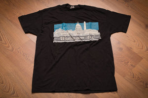vintage 80s black t-shirt with graphic of landmark buildings in washington dc