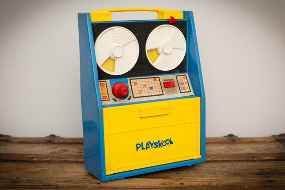 Vintage 70s Playskool blue and yellow plastic computer toy