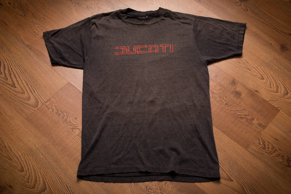 80s Ducati T-Shirt, S, Double Lined Logo, Motorcycle, Vintage Tee, Biker, Superbike