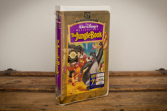 90s SEALED The Jungle Book VHS Movie, Walt Disney Classic, Vintage, Clamshell