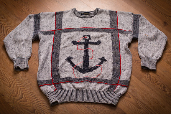 80s-90s Nautical Anchor Sweater by The Captain's Shoppe, M/L, Vintage, Sailing