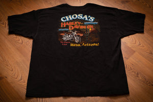 vintage 90s black t-shirt from chosa's harley davidson in mesa, az, with motorcycle and cactus in desert graphic